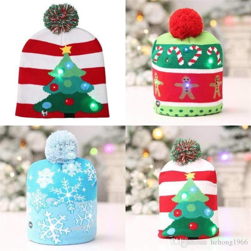 가을 신상품 크리스마스 트리 눈사람 성인 어린이 모자 산타 클로스 야광 모자 축제 장식 뜨개질 LED 램프 비니 15hb