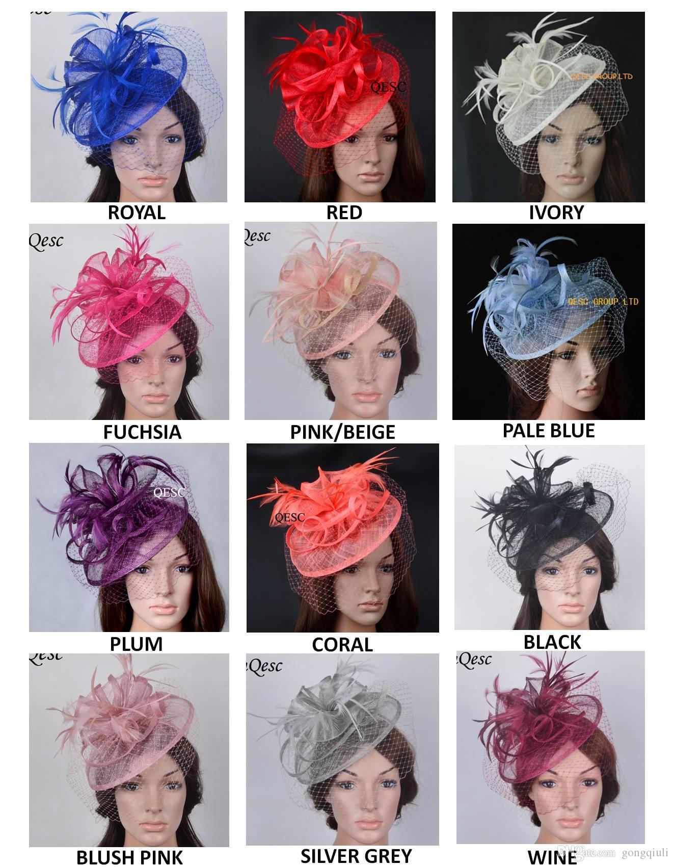 12 coolours possono scegliere. fascinator copricapo di piume cappello della chiesa CALDO sinamay Kentucky Derby Reale di nozze con velando