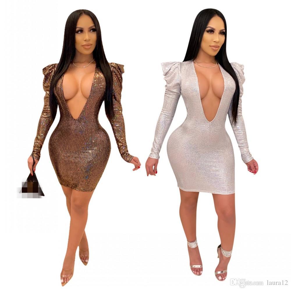 USA Women Deep V-Neck Long Sleeve Body con Sequined Party Night Club Mini Dress