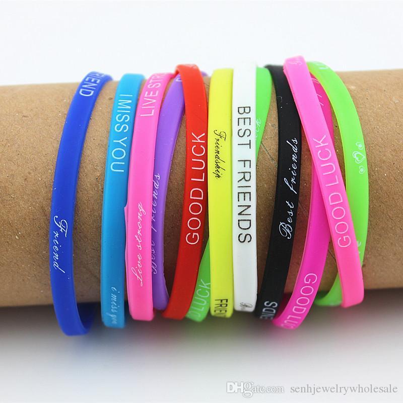 LOTE 100 PCS misturar cores Letras de Borracha Pulseira de silicone pulseira de 5mm de Borracha Elástica Amizade Pulseiras homens mulheres jóias MB192
