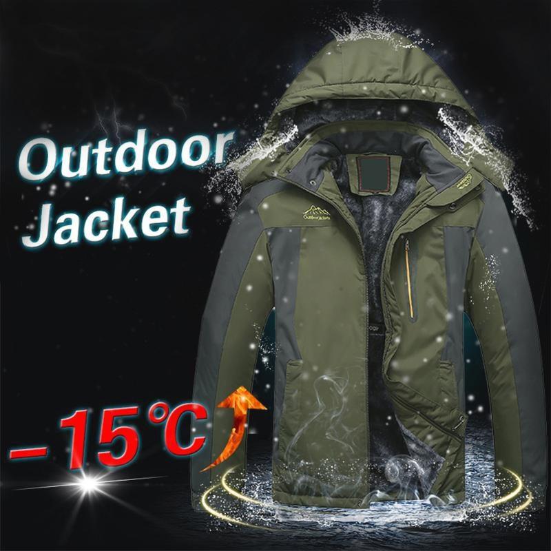 Hiver Hommes Vestes chaud épais manteau à capuche Homme extérieur Outwear imperméable Vestes en polaire intérieure Casual Plus Size Thermal Jaqueta S191019