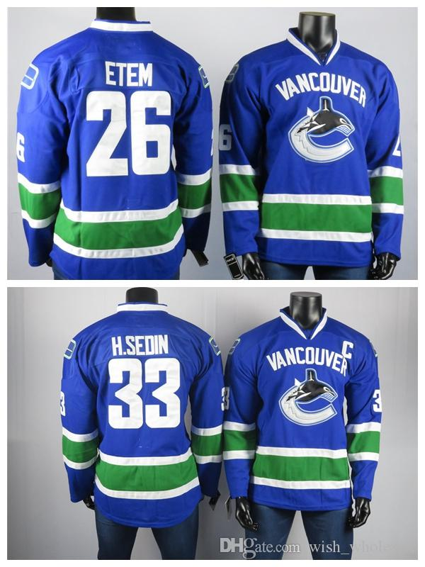 Vancouver Canucks Trikots Der beste Spieler von Henrik Sedin33 Etem 26 hochwertige bestickte Männer graue Eishockey-Trikots genäht