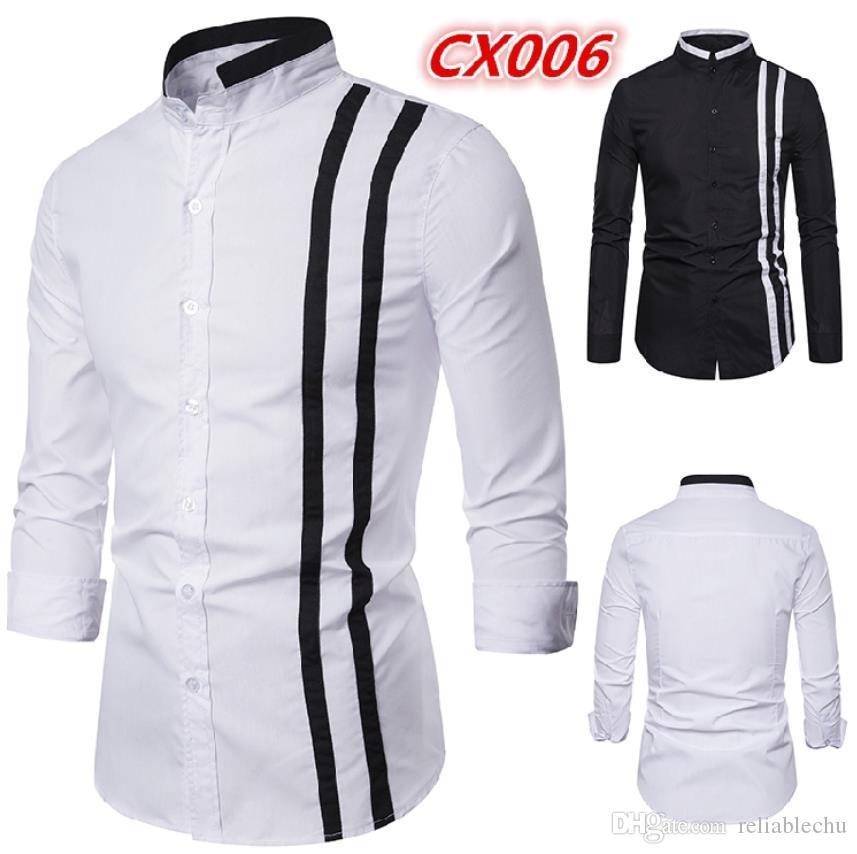 hommes robe chemise à manches longues col montant unique poitrine contraste blanc noir hommes de conception de couleur chemises habillées d'affaires Livraison gratuite cx006