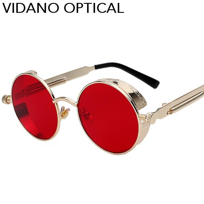 Luxury-Vidano 옵티컬 라운드 메탈 선글라스 Steampunk 남성 여성 New Fashion 안경 럭셔리 디자이너 Retro Vintage Sunglasses UV400