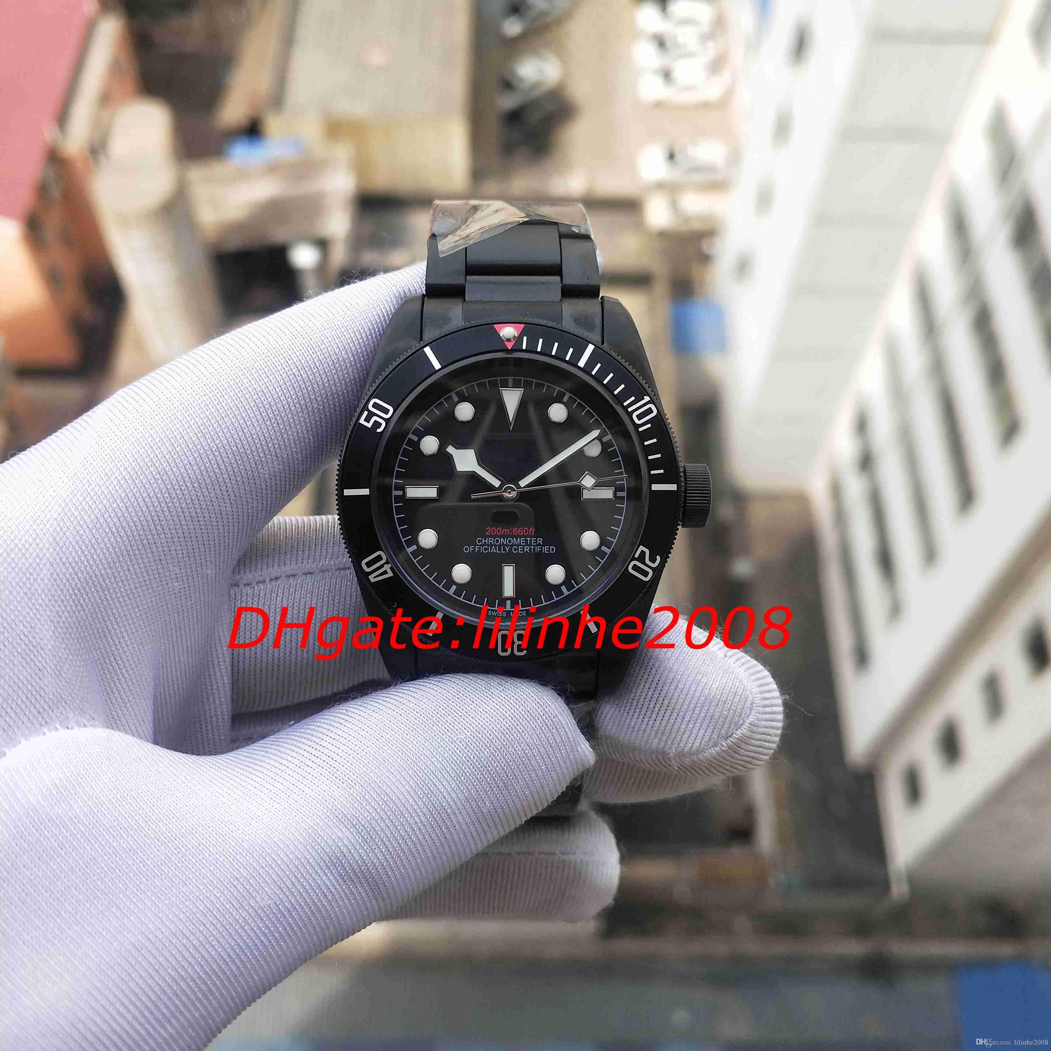 Melhor Qualidade Assista 79230DK 25600TN 79230B 25600TB GENEVE Relógios Movimento automático PVD Black aço Calendário Mens Relógios dos homens relógio