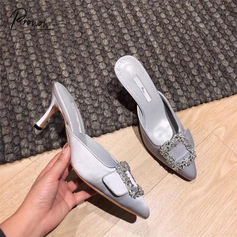 Prowow Art und Weise Frühlings-Sommer-echtes Leder-Schuh-Frauen-Slippers Spitzschuh dünne Ferse Damenschuhe Hausschuhe Mules Frau