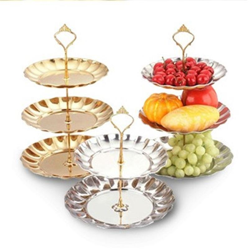 Party Decoration Dessert Rack Stainless Steel Metal Color Thickening Creative Wedding Dried Fruit Tray Cake Stands 20 42dc2E1