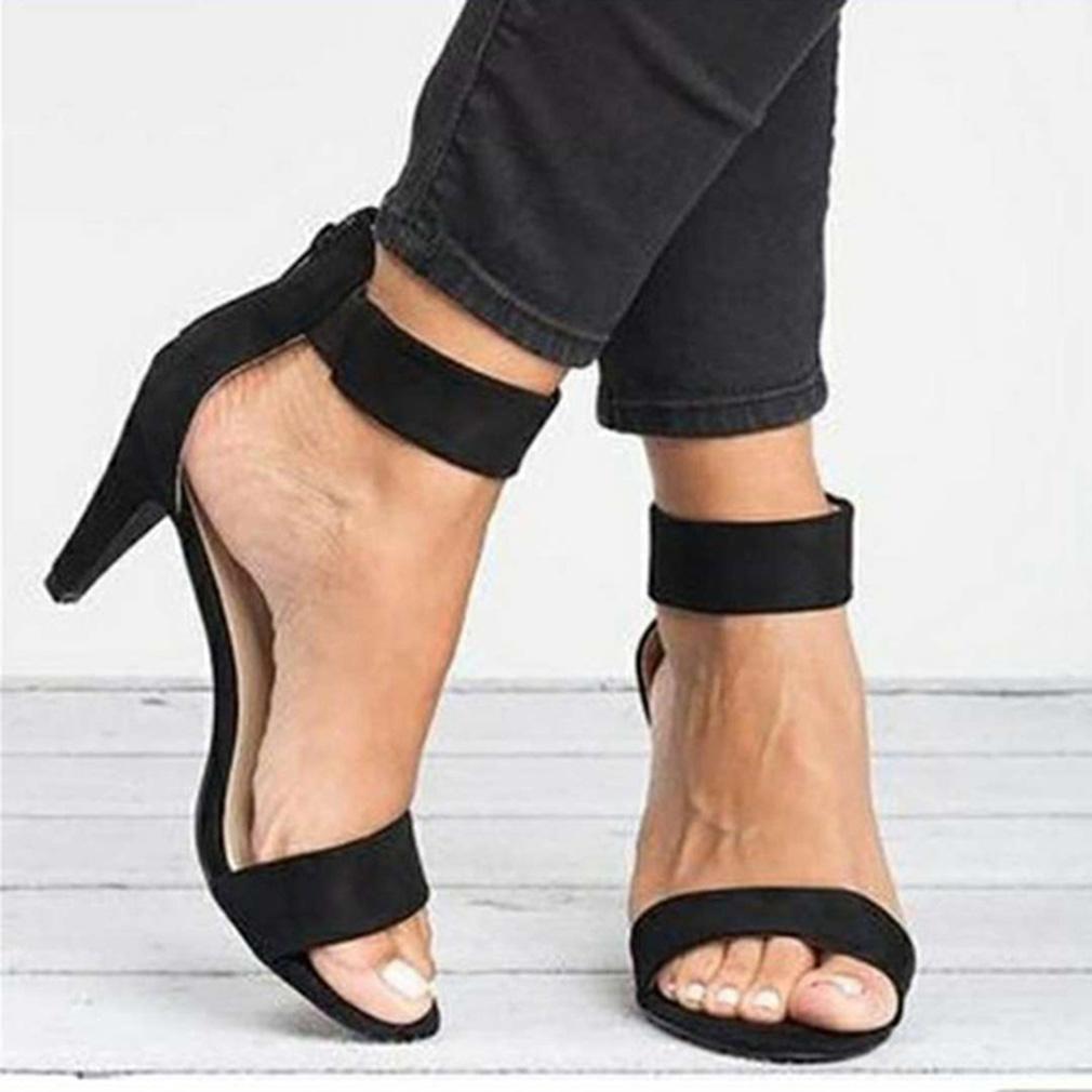 Spring Women Pumps Sandals Thin High Heel Open Toe Zipper Suede Leopard Platform Office Ladies Sandal Shoes Sapato Feminino
