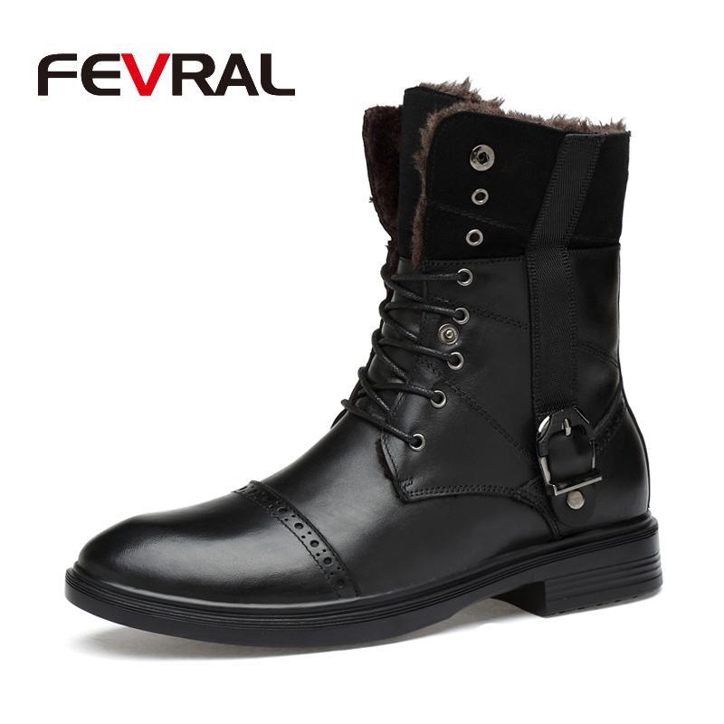 FEVRAL Botas Homem Outono Inverno Men couro genuíno impermeável sapatos de borracha neve Botas Lazer Inglaterra por