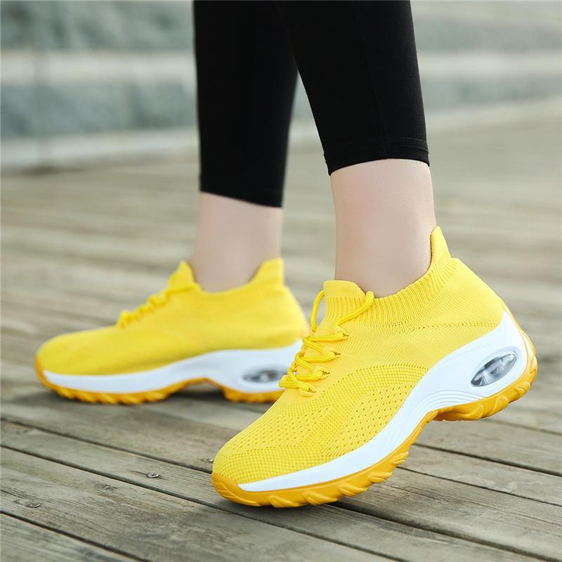 게다가 여성 스니커즈 컴포트 여성 트레이너 여성 캐주얼 플랫폼 신발 CHAUSSURES 팜므를 들어 크기 웨지 신발