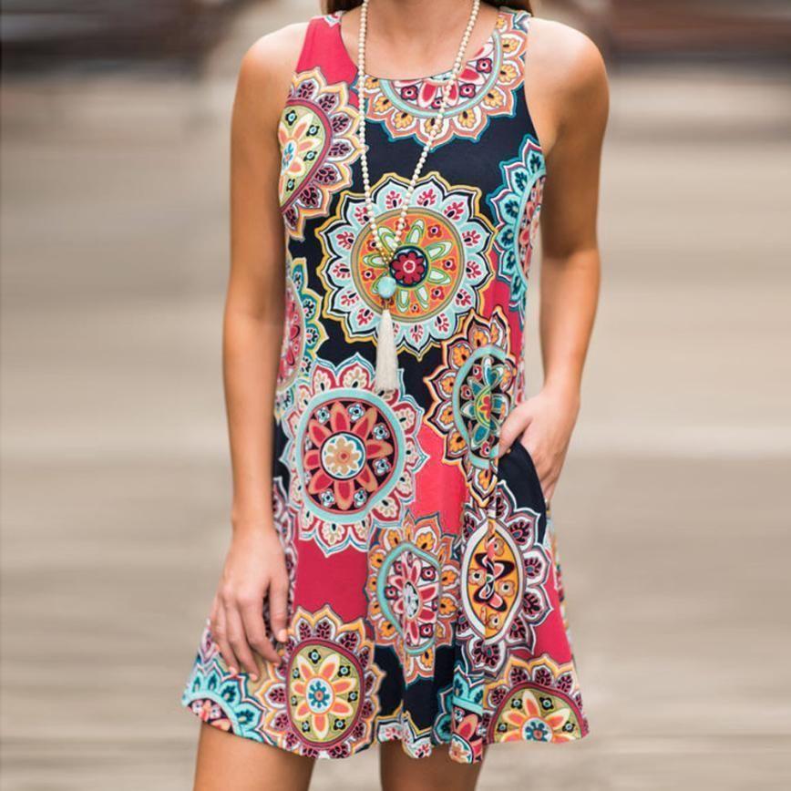 2019 dress damen sommer vintage boho abend party strand floral dress ärmellose a-linie dress frauen jul31