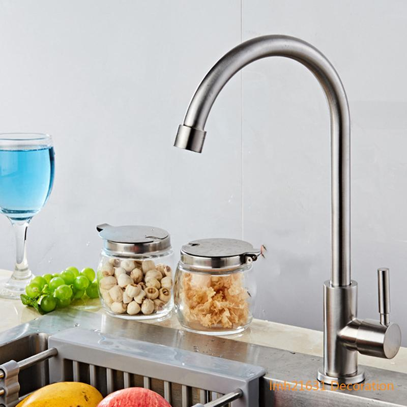 304 stainless steel kitchen single cold faucet rotating faucet brushed lead-free sanitary bathroom balcony garden bar faucets