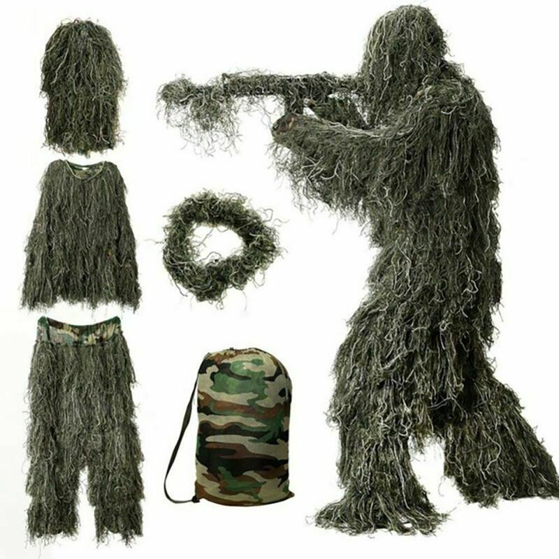 Av Ketum Woodland Ghillie Suit Havadan Çekim Sniper Yeşil Elbise Yetişkin Kamuflaj Askeri Jungle Multicam Giyim T200601