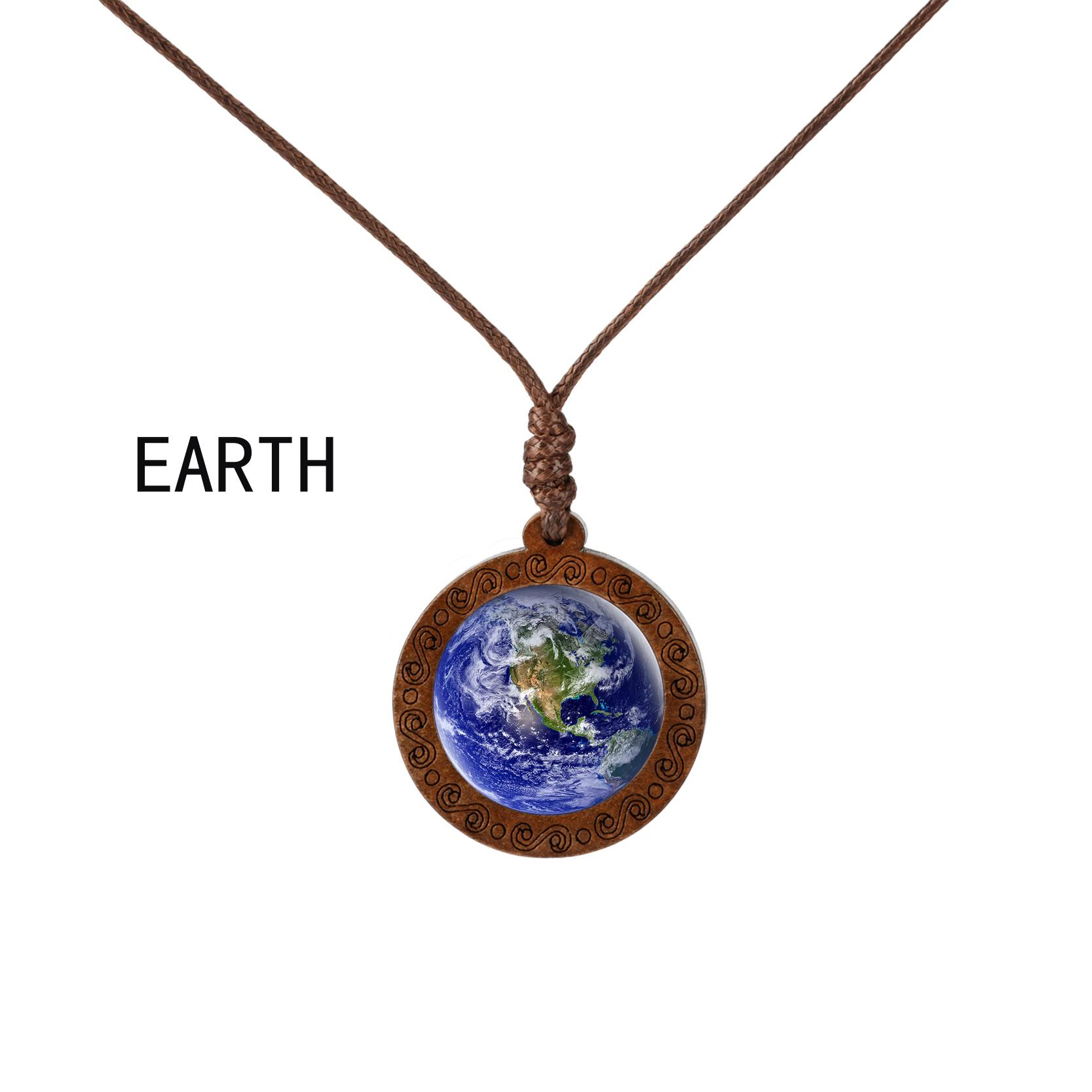 Planet Solar System Jupiter Earth Sun Necklace Vintage Wooden Pendant Glass Cabochon Jewelry Galaxy Necklace Gift