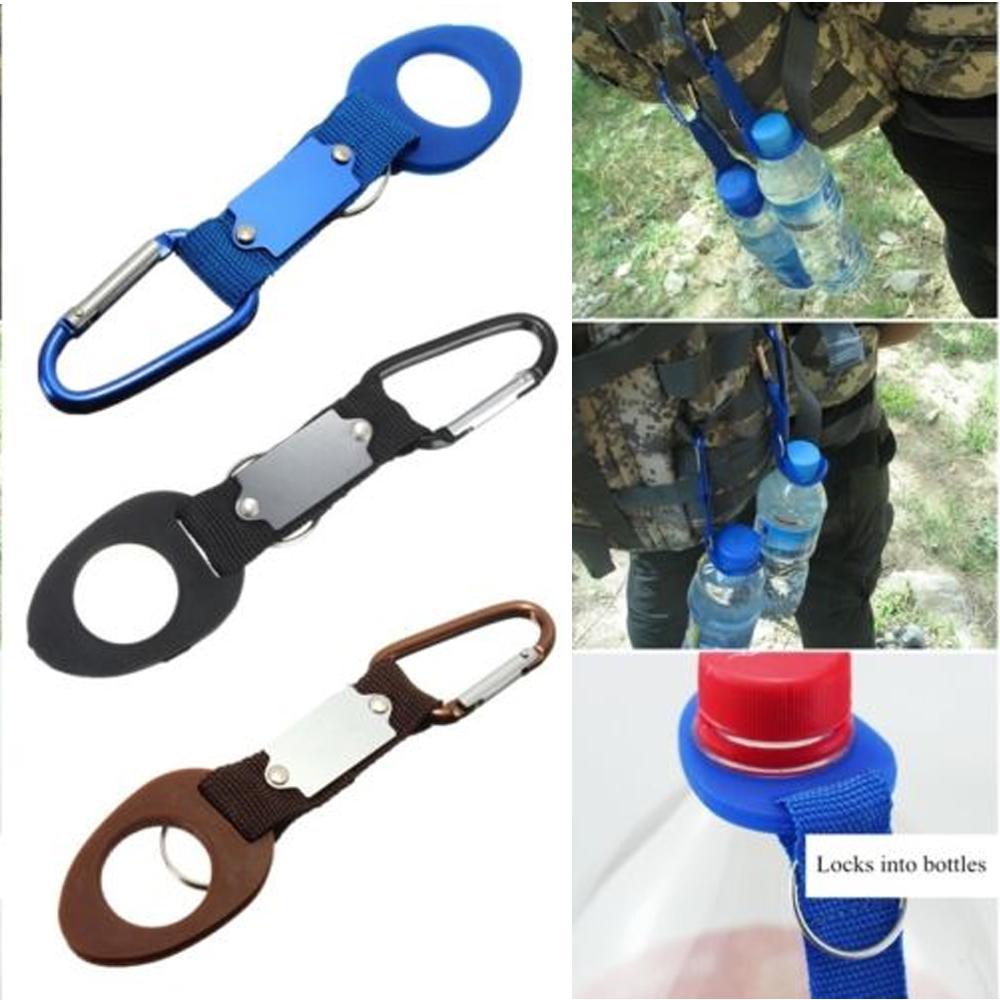 Water Bottle Clip Holder Camping Hiking Traveling Strap Belt Carabiner Tools US