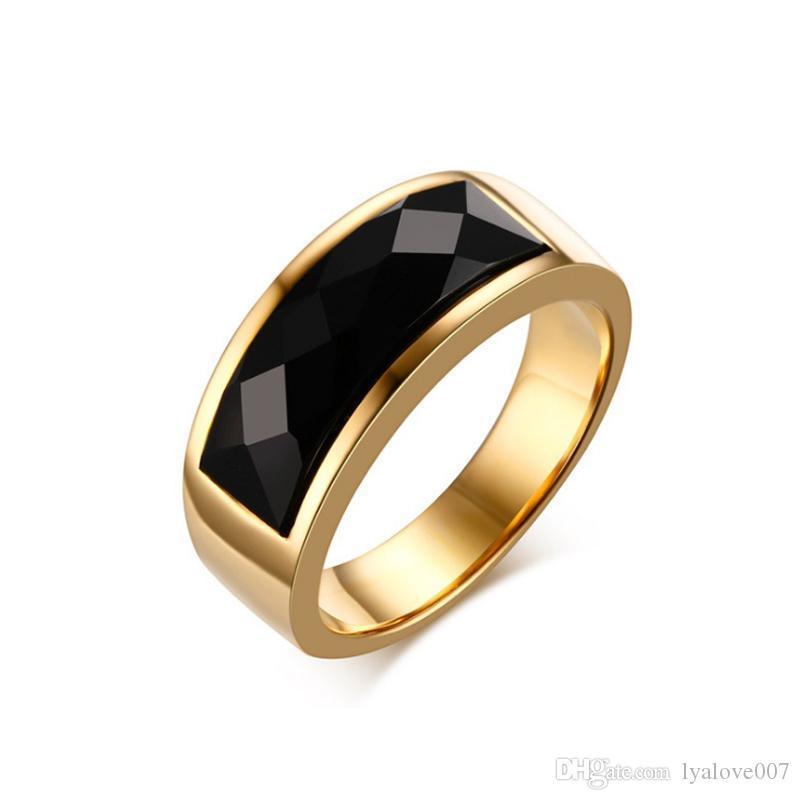2019 popula chaud vente titane mode en acier inoxydable 8MM Anneaux agate noire pour les couples de bijoux pour hommes cubique anneaux de mariage zircons Femme Bague