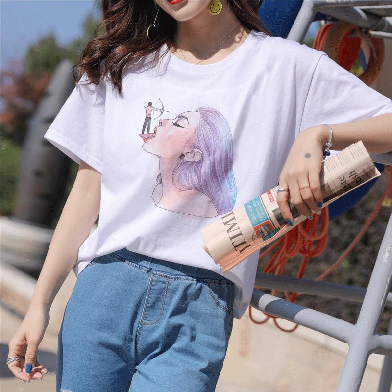 Camiseta New mulheres engraçadas Amigos Vogue menina camisetas dos desenhos animados do vintage Imprimir Aesthetic Casual manga curta Harajuku Camisetas Mulheres Top