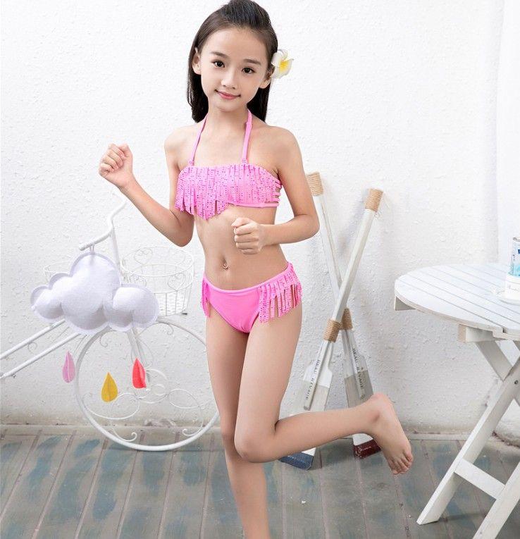 b5751a5afe 4 Styles 2019 Girls designer bikini crystal Tassels suspender designer  swimsuit Two-Pieces Beach board wear kids swimwear Swim Suits Clothes