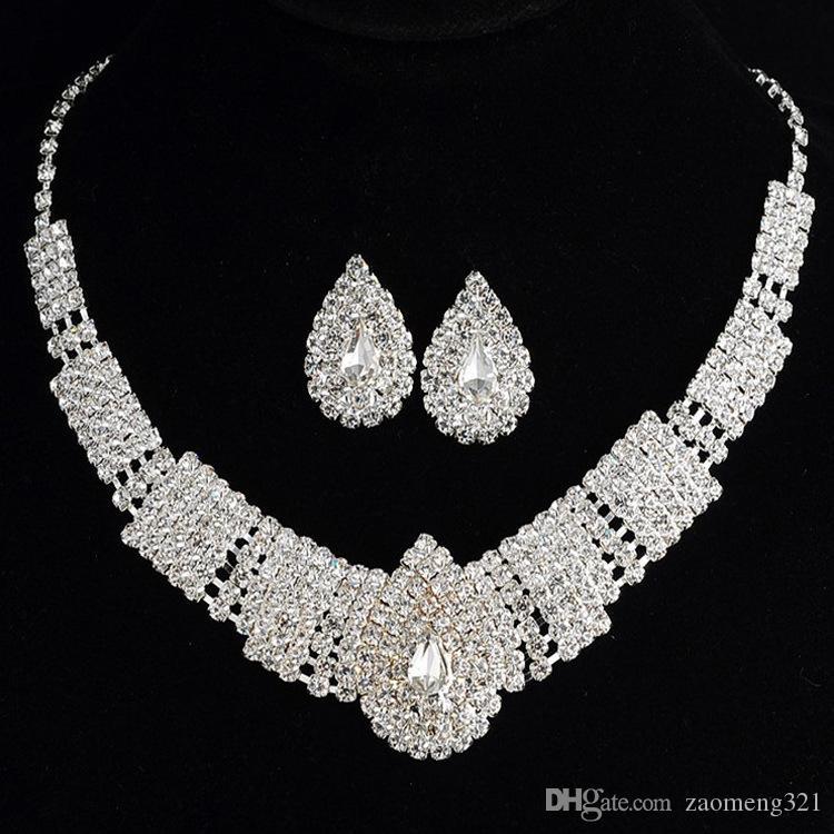 Hot Selling Bride Classic Rhinestone Crystal Gargantilla Collar Pendientes Joyería de la boda Conjuntos Accesorios de boda Joyería nupcial