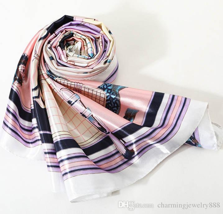 Fashion Design Scarves 90cm Ladies Imitation Silk Scarf Bandana Women Printed Hijab Scarf Leopard Chain Pattern Large Square Scarves Wrap