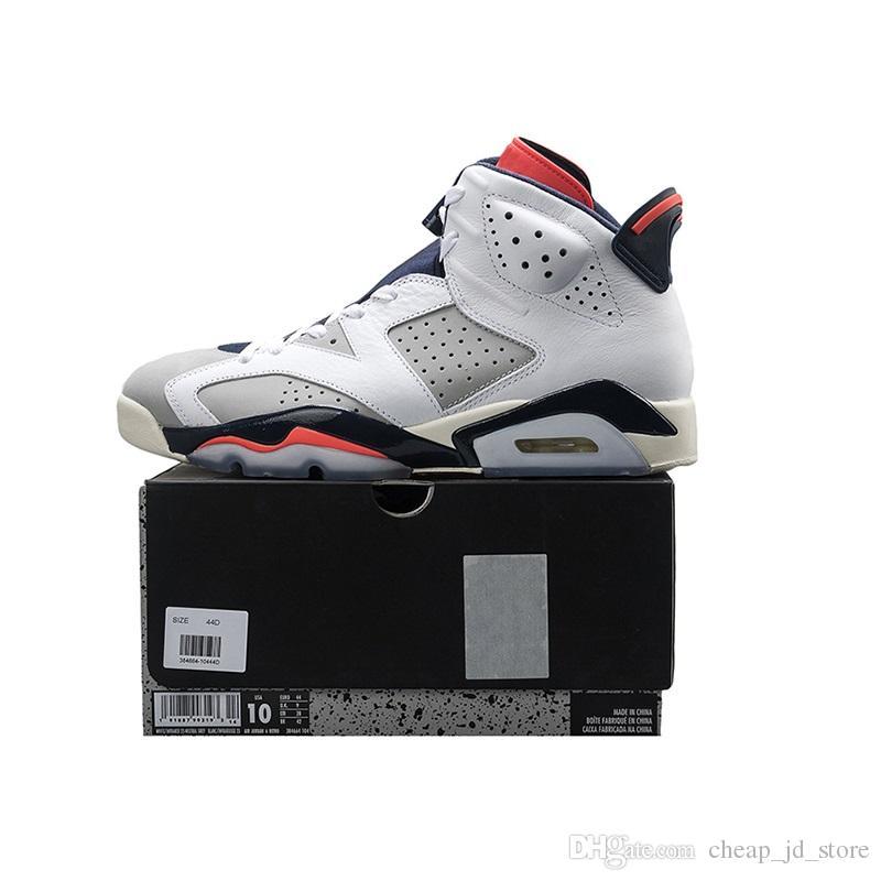 تينكر هاتفيلد 6 رجالي أحذية كرة السلة 6S الأبيض الأشعة تحت الحمراء 23 محايد رمادي رياضة المرأة رياضية الحجم 5.5-13 مع مربع