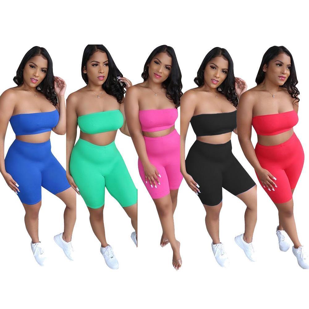 Летние женские 2 шт набор слов воротник спортивный костюм женские случайный бюстгальтер шорты спортивный костюм конфеты цвет женской одежды