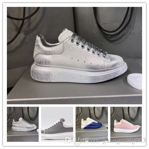 2019 Lüks Tasarımcı Ayakkabı eğitmen Yansıtıcı 3M Üçlü beyaz deri Platformu Sneaker Düz Casual Parti Marka Spor Q81 mens womens