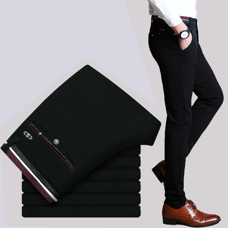 2016 Новая весна осень мода Slim Fit Мужские повседневные брюки прямые брюки платье Упругие деловой костюм Мужские брюки