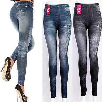 Fashion Denim Look Fit One Size New Womens Leggings Jeggings Womens