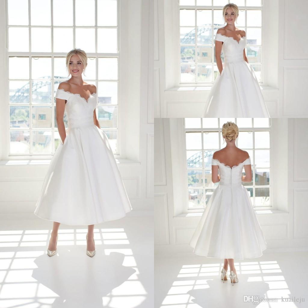 Modest Ball Gown House Of Mooshki Wedding Gowns Off Shoulder Satin Applique Ruched Wedding Dresses Tea Length Bridal Gown