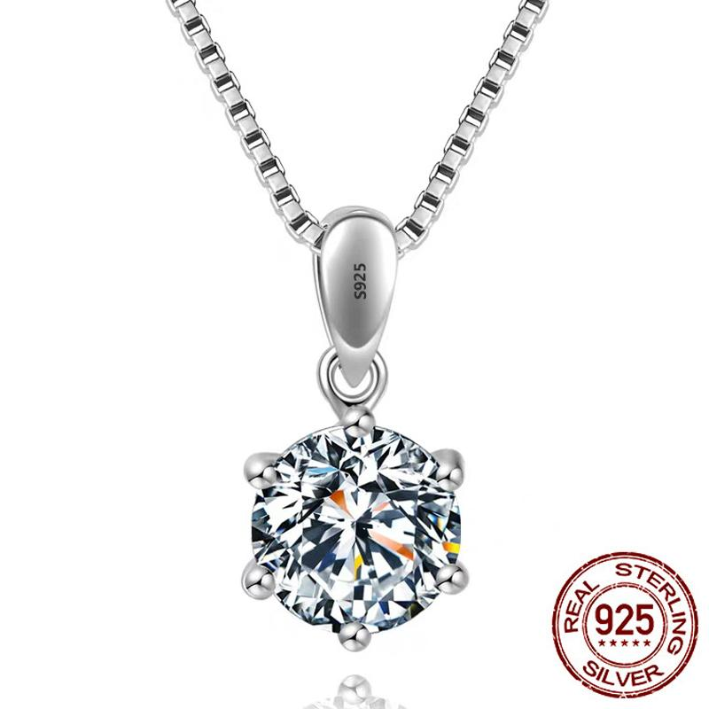 High Quality 6/8mm Single Clear CZ Diamond 100% 925 Sterling Silver Jewelry Bridal Engagement Silver Pendant Necklace
