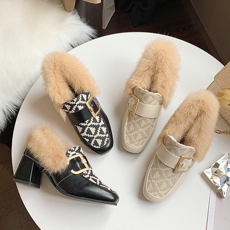 Классический Середина Heeled Лодка Обувь с низким Проектировщик кожа Профессии Высоких каблуков обувь Круглого Head металл Кнопка платье женщины меховой обувью US11 35-39