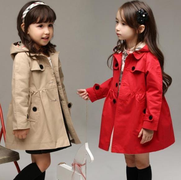 2020 Yeni Çocuk Giyim Kız Sonbahar Prenses Coat Katı Renk Orta uzun Tek Breasted Hendek Bebek Kabanlar