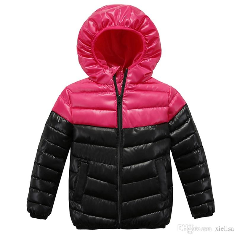 rojo de la rosa de los bebés de los niños abrigos de invierno de la chaqueta de la cremallera chaquetas Niños gruesa chaqueta de invierno de alta calidad Boy de invierno los niños ropa de abrigo