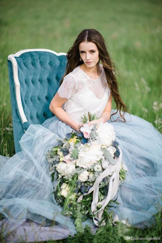 2020 высокая шея линия мягкая тюль колпачок рукава спинки светло-голубые юбки плюс размер богемный свадебное платье фея пляж boho кружева свадебные платья