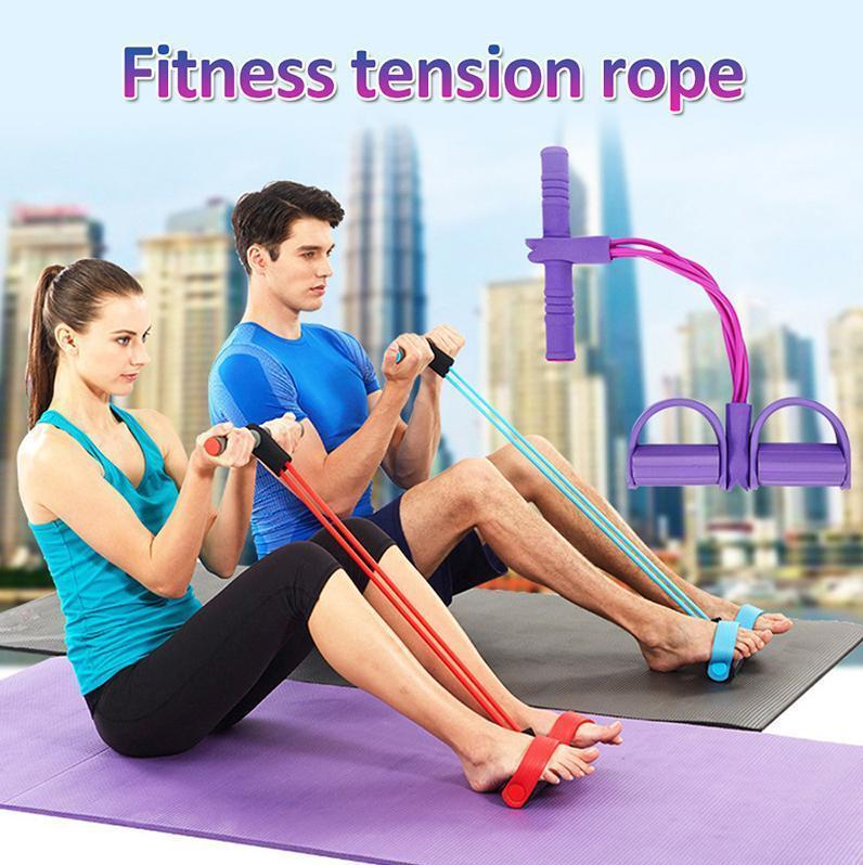 DHL Free Ship Fitness Gum 4 Tube Resistance Bands Latex Pedal Exerciser Sit up Pull Rope Expander Elastic Bands Yoga Pilates Workout FY7009