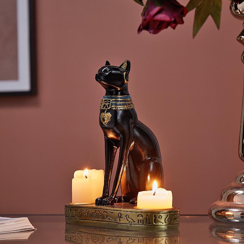 Классический египетский Cat Смола Подсвечник Домашнее украшение Ресторан LivingRoom Бар Настенная тумба Хэллоуин Рождество Desktop Gift Y200109