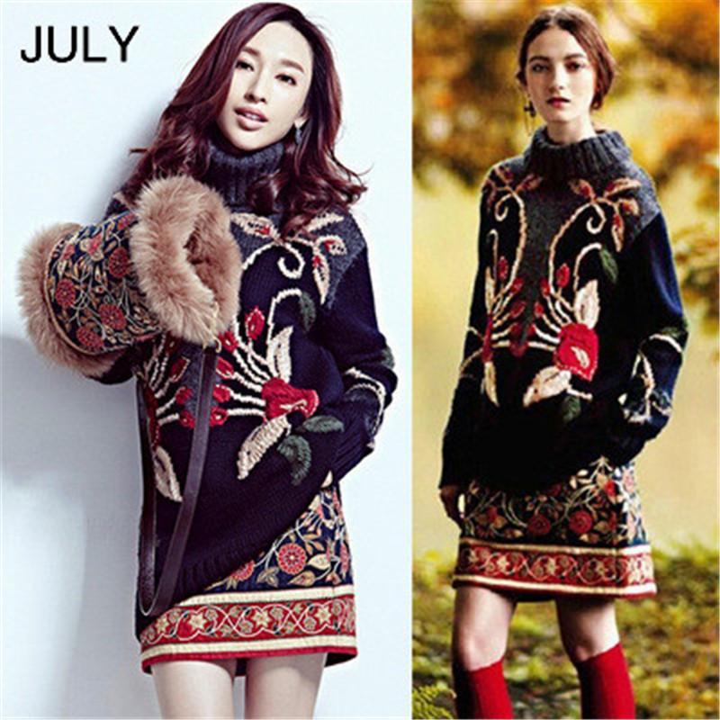 Pista de lujo diseñador suéter de lana Mujeres 3D flora bordado de la vendimia géneros de punto de invierno caliente del jersey de cuello alto Jumper