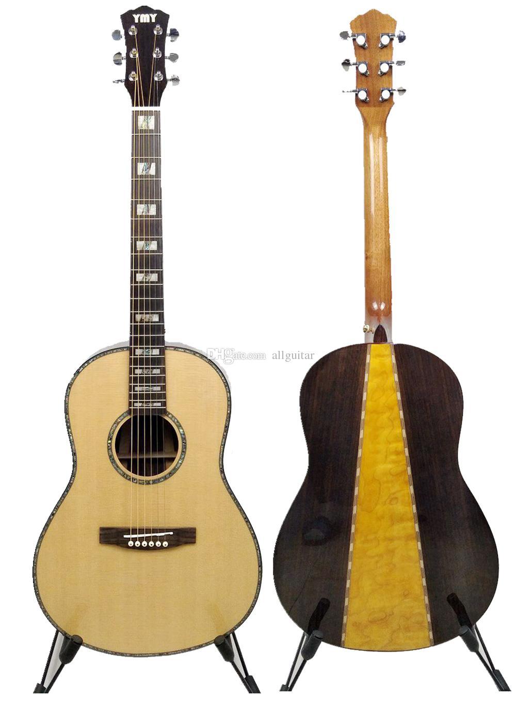 38 بوصة الغيتار الصوتية الحرفية مخصص أذن البحر تطعيم الجسم الغيتار الخشب الطبيعي الصلبة الراتينجية القيثارات الصينية مصنع المخرج