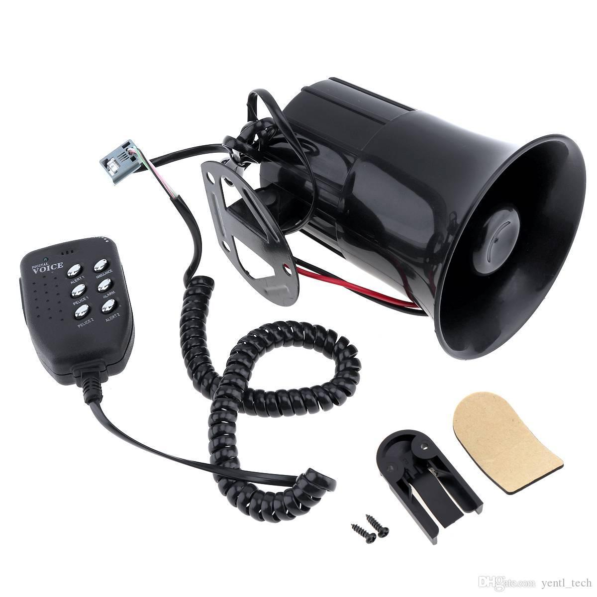 12V 100W Car Truck Electric Alarm Air Horn Siren Speaker 5 Sound Tone Super Loud with Mic Pack of 1
