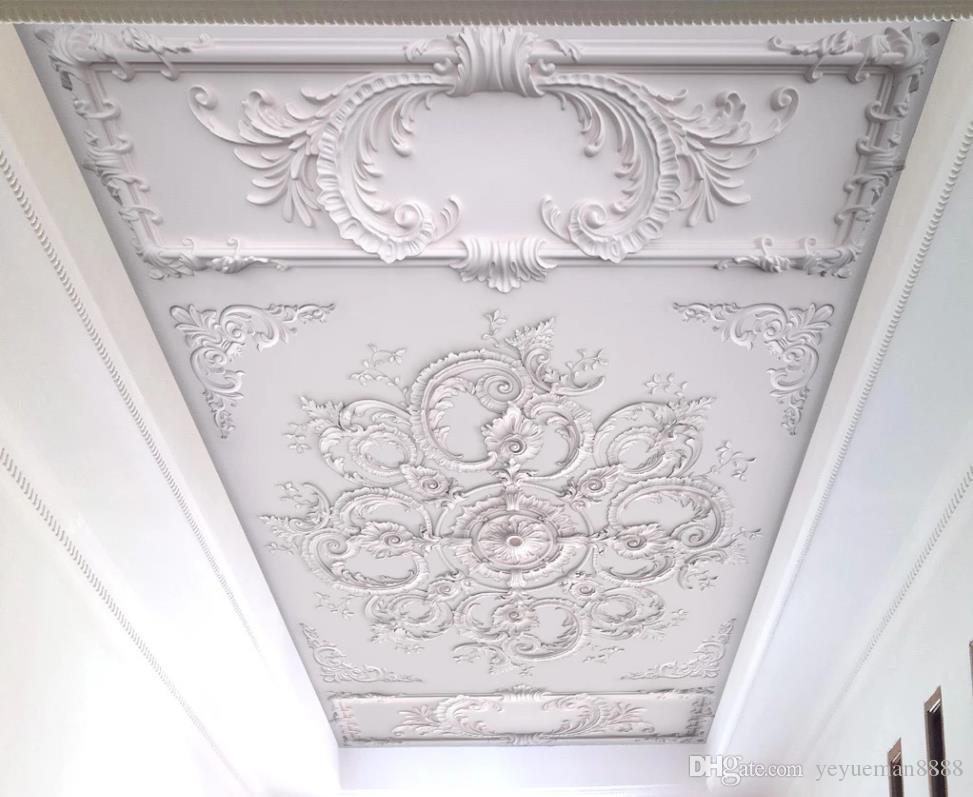 Ceiling 3D Embossed pattern Custom Photo Mural Wallpaper Living Room Bedroom ceiling wallpaper for walls 3 d