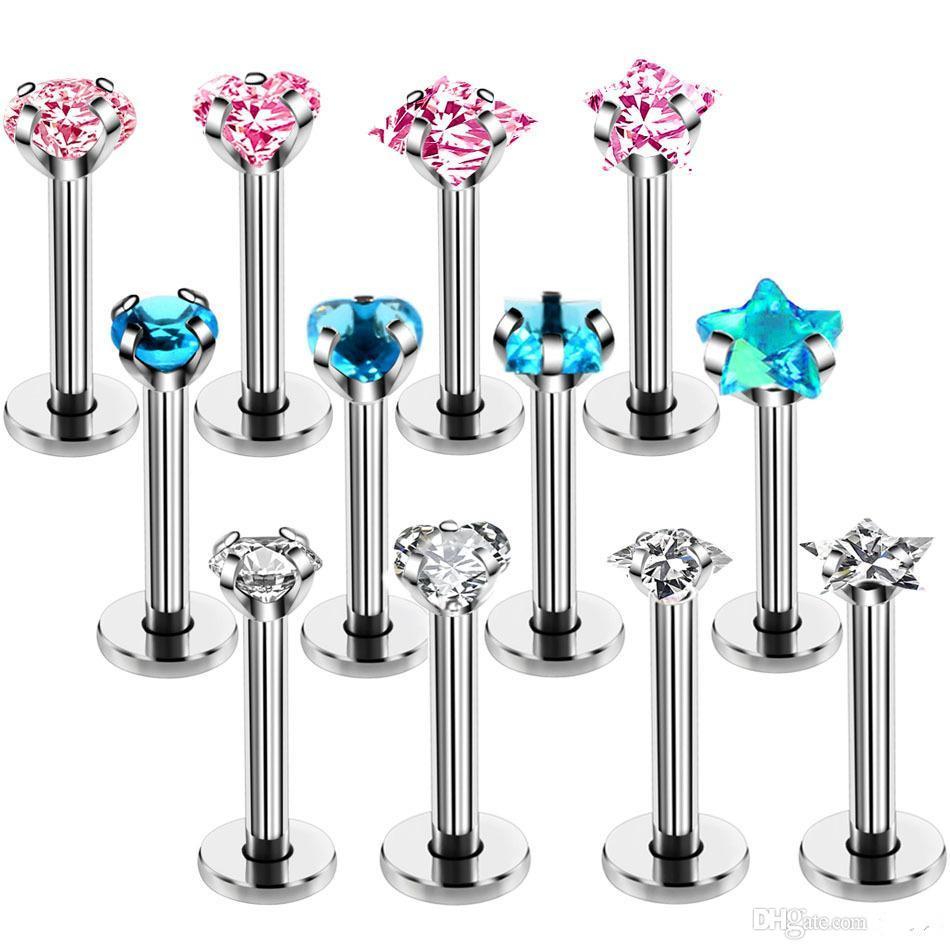 316l Surgical Steel Zircon Nose Screw Rings Earring Tragus Cartliage Piercings Labret Piercing Body Jewelry