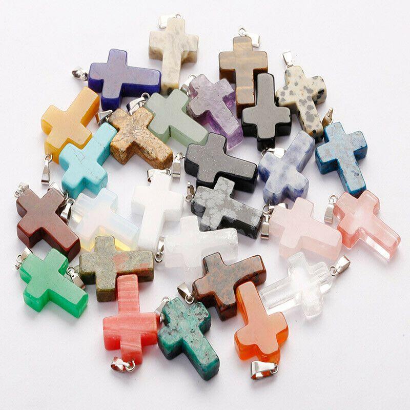 Mix colors Cross Pendant Natural Stone beads jewelry turquoise pendants multicolour Stone pendants quartz crystal agate fit necklaces