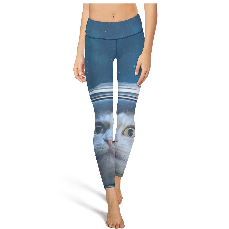 Schwarz Galaxy Cat AstronautFashion Damen Design Yoga Pants Elastizität beiläufige weiche Geeignet für Fitness Astronaut Blau Raum Katze Devon sein