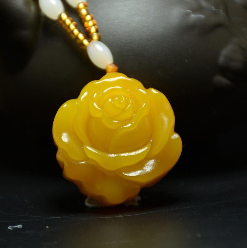 Xinjiang Hetian jade topaz peony flower jade pendant yellow dragon jade rose pendant flower blossom rich pendant female sweater chain