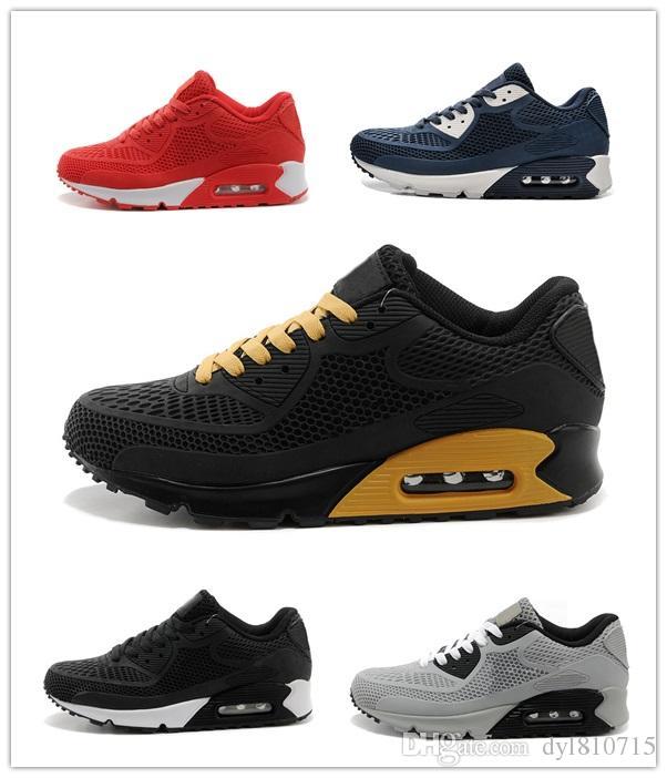 NIKE Air Max 90 KPU 2018 New Casual chaussures Coussin Alr 90 KPU Hommes de haute qualité Sneakers pas cher Tous noir Chaussures de sport Livraison Gratuite Taille 40-45