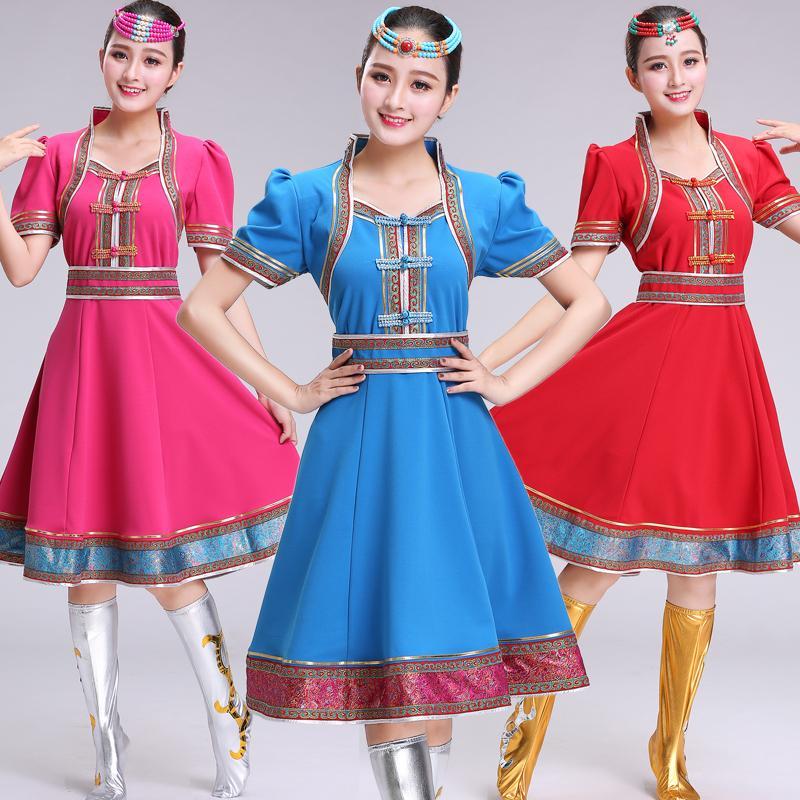 manga corta de desgaste de la danza del verano del vestido oriental de Mongolia ropa de vestuario funcionamiento de la etapa Ropa nacional vestido Folk