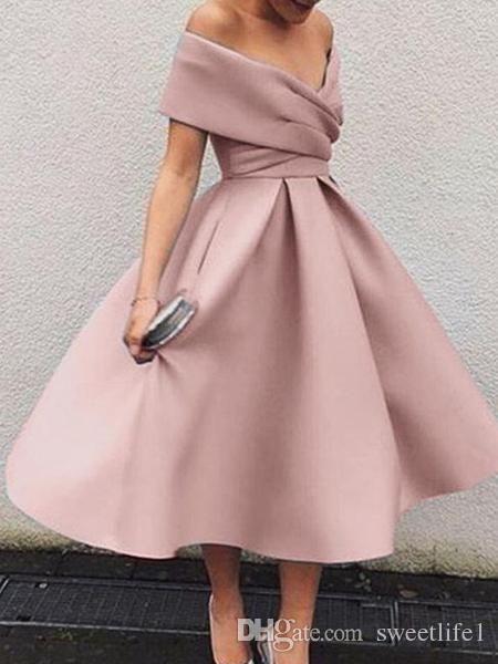 2019 novo blush rosa cocktail vestidos fora do ombro curto mini formal vestido de festa de baile feito personalizado venda quente