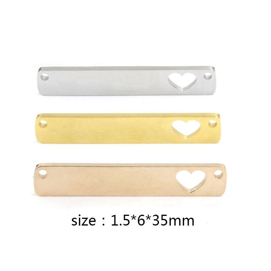 도매 스테인리스 거울 세련 된 빈 스탬핑 사각형 할로우 심장 커넥터 매력 DIY 쥬얼리 1.5 * 6 * 35mm 20piece / lot