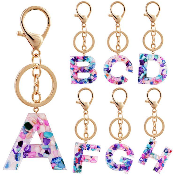 26 Letter keychain Alphabet keyring Chain Wristlet key chain Wrist Strap Key Organizer Holder Cartoon Accessories Wholesale JJ573